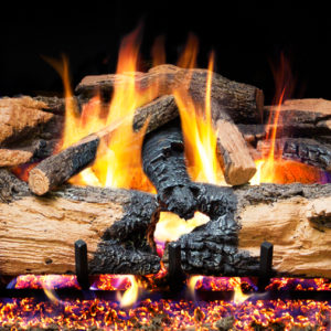 Realfyre Charred Overgreen Split Oak Vented Gas Logs
